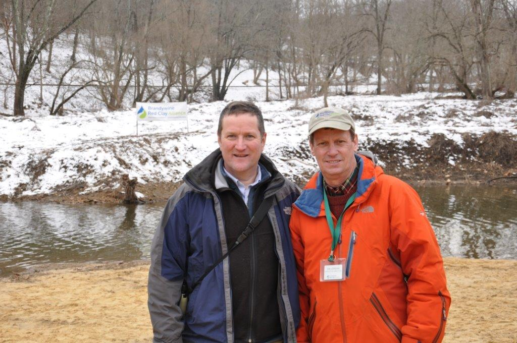 Andrew Homsey with Jim Jordan at the Brandywine Red Clay Alliance Polar Plunge, Feb. 2017