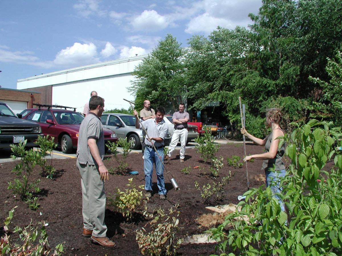 Augering UD Rain Garden, June 2005