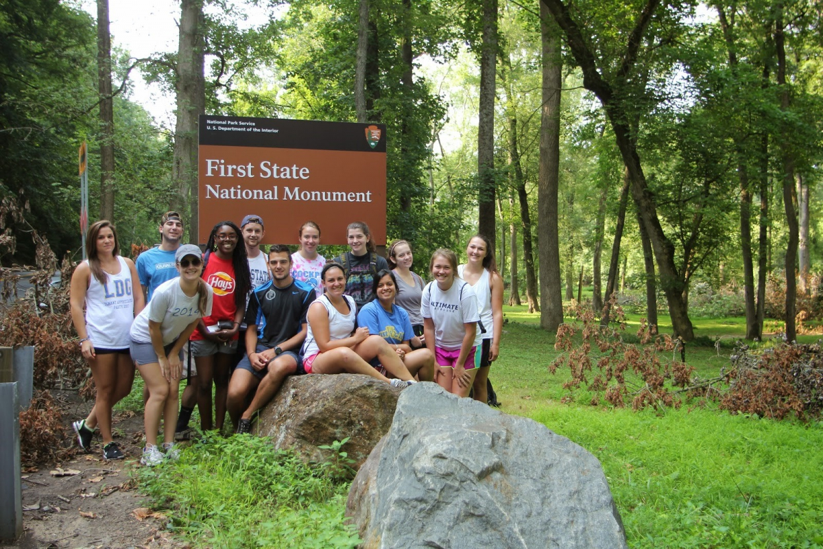 DWRC research students characterizing streams at First State National Park, July 2014