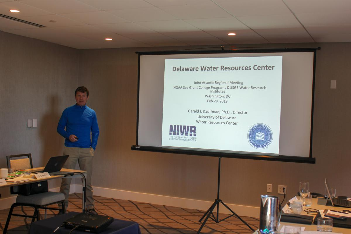 Dr. Gerald Kauffman addresses the Joint Atlantic Regional Meeting of the NOAA Sea Grant and USGS NIWR Institutes in Washington, DC (Feb. 28, 2019)