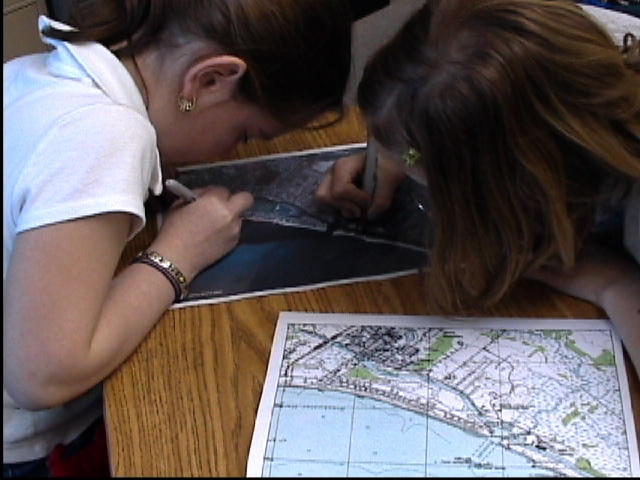 Children at Shields Elementary learn about GIS layers to study shoreline change