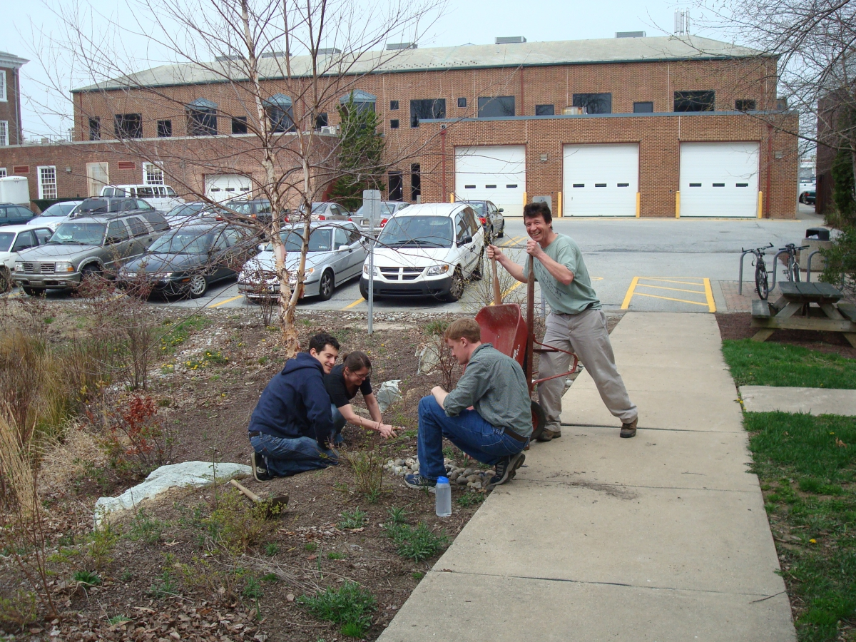 Working at the UD Rain Garden, April 2008