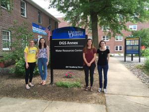 DWRC Water Research Interns Veronica Hill (Resource Economics), Natalie Zimmerman (Geology), Alyssa Cortese (Environ. Science), and Mia Kane (Environ. Science), May 23, 2019