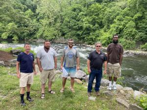 Fishery survey field recon along the Brandywine at breached Dam 3 June 16, 2020